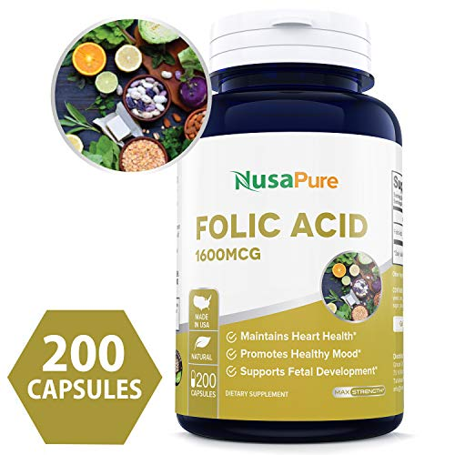 (Best Folic Acid 1600mcg 200caps (Non-GMO & Gluten Free) Supports Cardiovascular Health, Prenatal Development and Energy Metabolism - Made in USA - 100% Money Back)