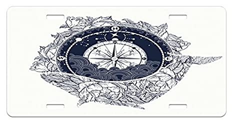 Amazoncom Lunarable Nautical License Plate Antique Compass Floral