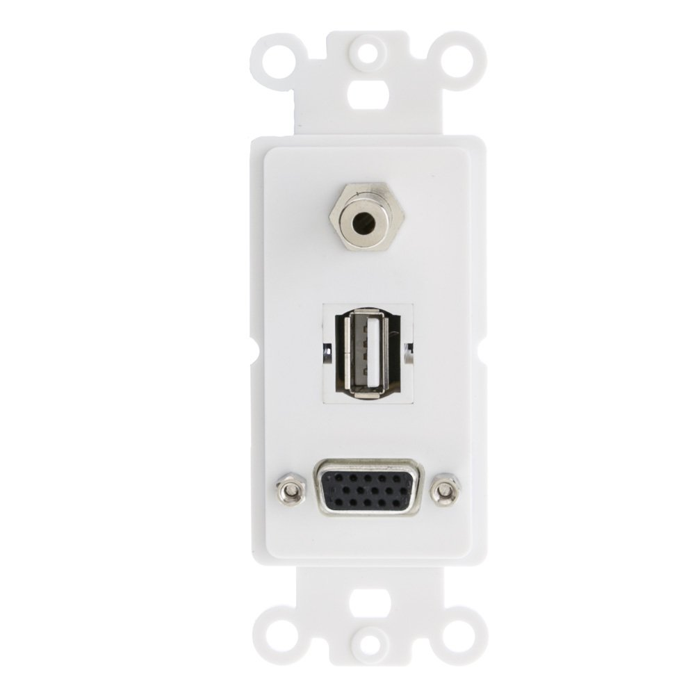 ACL Decora VGA Coupler, 3.5mm Stereo Jack & USB Type A Coupler [HD15 Female/3.5mm Female/USB Type A Female] Wall Plate Insert, White, 20 Pack by ACL