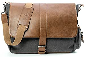 "Vetelli Laptop/Computer/Messenger/Tablet Bag with scratch protection lining for laptops or Macbooks up to 15.6"". Leather + Charcoal Grey Canvas - Large size bag: 18"" x 12"" x 5"""
