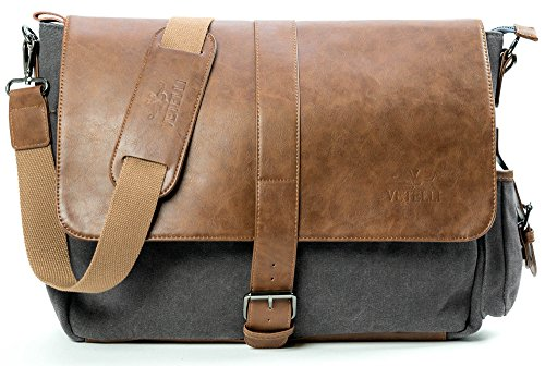 Vetelli Laptop / Computer / Messenger / Tablet Bag with scratch protection lining for laptops or Macbooks up to 15.6''. Leather + Charcoal Grey Canvas - Large size bag: 18'' x 12'' x 5'' by Vetelli
