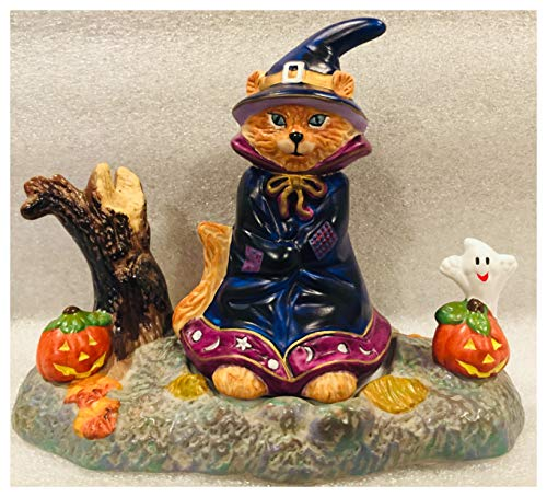 Partylite Abracadandle Candle Base & Snuffer Halloween Cat Witch P7344 ()