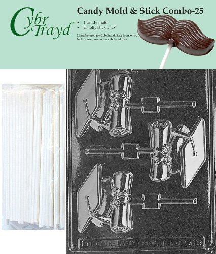 (Cybrtrayd 45St25-M069 Cap & Diploma Lolly Chocolate Candy Mold with 25 Cybrtrayd 4.5