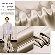F.D.SILK 19MM 100% Mulberry Light Beige Silk Charmeuse Fabric By the Yard, 48 Colors, Light Beige SZD1929