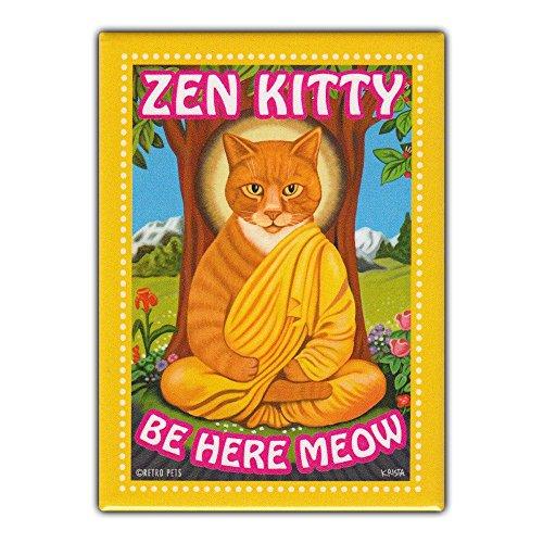 Retro Pets Refrigerator Magnet - Zen Kitty, Orange Tabby Cat - Vintage Advertising Art - 2.5