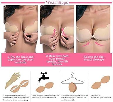 Sinoeem Mujeres Sujetador sin Tirantes Invisible Adhesivo,Sujetador Adhesivo Push up,Reutilizable para Las Mujeres Sujetadores para Vestidos sin Espalda