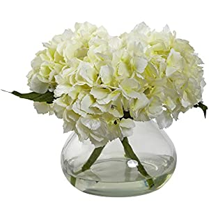 Nearly Natural 1356-CR Blooming Hydrangea with Vase, Cream 99