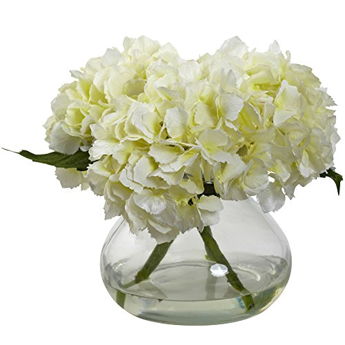 Nearly Natural 1356-CR Blooming Hydrangea with Vase, Cream (Small Palm Tree Fake)