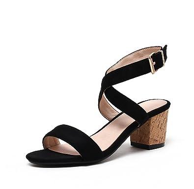 051d65e6611a Fimuy High Heel Leather Fashion Sandles Summer Women Sandals Black 36 5.5  D(M)