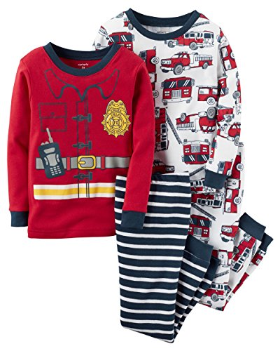 Carter's Boys 4-Piece Snug Fit Cotton PJs (Fire Fighter) (3T) (Firefighter Kids)