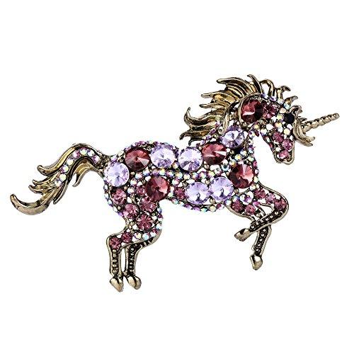 EVER FAITH Women's Austrian Crystal Running Unicorn Brooch Purple Red Gold-Tone (3 Stone Brooch)