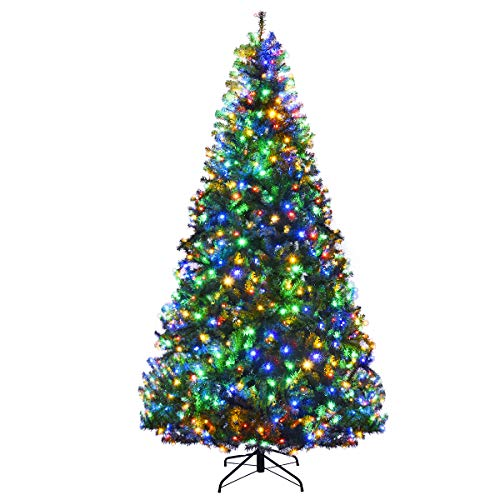 Goplus 8FT Pre-Lit Artificial Christmas Tree Auto-Spread/Close up Branches 11 Flash Modes with Multicolored LED Lights & Metal Stand (Christmas Pre Lit Sale Tree)