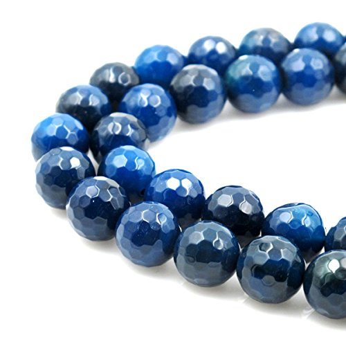 BRCbeads Gorgeous Faceted Blue Zircon Fire Agate Gemstone Round Loose Beads 10mm Approxi 15.5 inch 38pcs 1 Strand per Bag for Jewelry Making