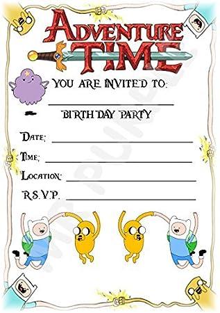 A5 Kids Childrens Party Invitations X 12 Adventure Time Portrait