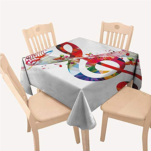 WilliamsDecor Music Cloth tablecloths Artwork with Musical Notes Rhythm Song Ornamental in Vibrant Colors Fantasy ThemeMulticolor Square Tablecloth W54 xL54 inch