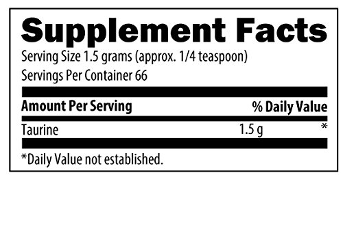 Designs for Health - Taurine Powder - 1500mg Amino Acid for Blood Pressure + Heart Support, 100 Grams by designs for health (Image #1)