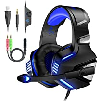 VersionTECH. V-3 Gaming Headset for Xbox One PS4 PC, Over Ear Gaming Headphones with Mic, LED Light, Stereo Bass Surround for Laptop, Mac, Nintendo Switch, Ipad, Tablet,Smartphones