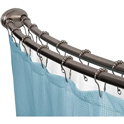 Smart Rod Double Curved Tension Shower Curtain Brushed Nickel Amazoncouk Kitchen Home