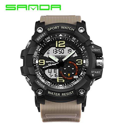 Reloj Digital Hombre, Reloj análogo LED Deportivo a Prueba de Agua, Reloj Pulsera Militar