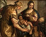 Cutler Miles Holy Family With Saints Barbara And John by Paolo Veronese Hand Painted Oil on Canvas Reproduction Wall Art. 30x24