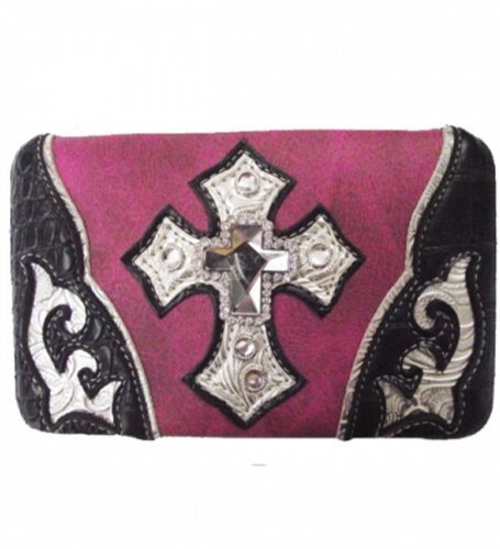 Pink Studded Cross Wallet