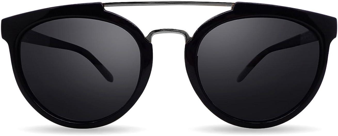 Overdose Sunglasses - Sophie Black Silver Double Bridge, Gafas de Sol Negras Unisex Doble Puente Polarizadas Protección UV400