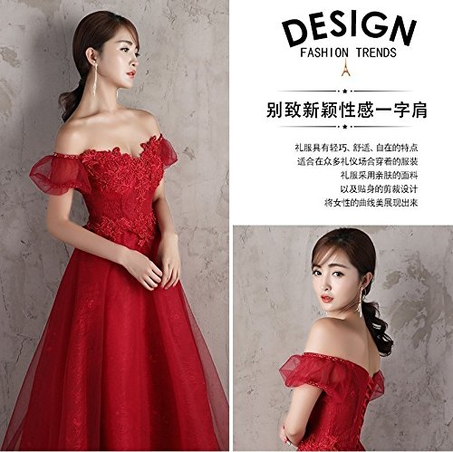 Generic Korean toast clothing red wedding dress banquet presided over strapless evening dress sexy long Dress Costume for women girl by Generic (Image #5)