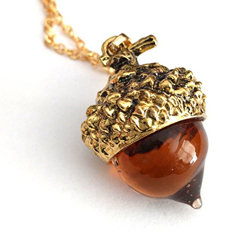 Joji Boutique: Golden Amber Glass Acorn Pendant Necklace