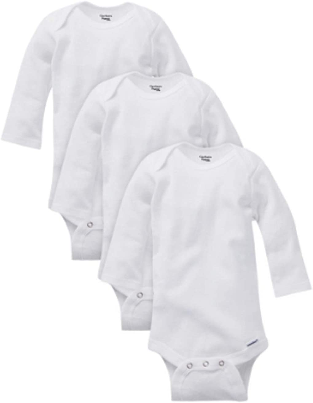 Gerber Unisex 3 Pack White Organic Long Sleeve Onesies Various Sizes Bodysuits