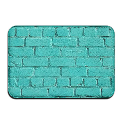 BesHome Mint Green Brick Wall Art Non-slip Backing Living Room Hallway Bathroom Pet Entrance Garden Office Clean Step Mat Floor Super Absorbs Mud Door Mat 15.5in X 23.5in (Brick Room Garden)
