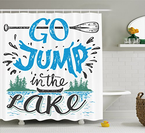 Ambesonne Cabin Decor Shower Curtain by, Vintage Typography Inspiration Quote Lake Sign Canoe Fishing Sports Theme, Fabric Bathroom Decor Set with Hooks, 70 Inches, Blue Black Green