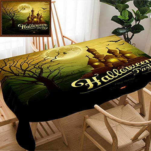 Unique Custom Design Cotton And Linen Blend Tablecloth Happy Halloween Party Castles With Message Bat Silhouette Tree Moon Design Background IllustrationTablecovers For Rectangle Tables, 78