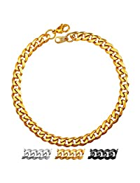 U7 New Fashion Men Jewelry 3MM/6MM Wide High Polished Stainless Steel Base Curb Cuban Chain Link Bracelet,8.3''