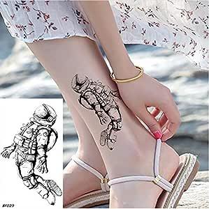 yyyDL Pequeños tatuajes temporales de tobillo de astronauta negro ...