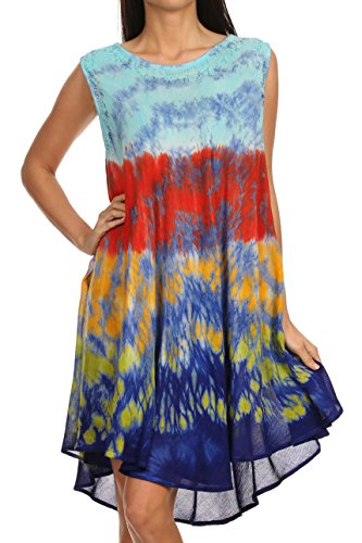 Sakkas Nora Sleeveless Embroidered Short Tie Dye Caftan Dress / Cover Up