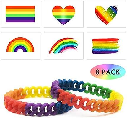 LGBT Pulsera 8 Pack - 2X Arco Iris Silicona Brazalete Orgullo Gay ...