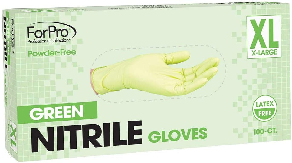 ForPro Green Nitrile Gloves, Powder-Free, Latex-Free, Non-Sterile, Food Safe, 3 Mil, 100-Count size XL