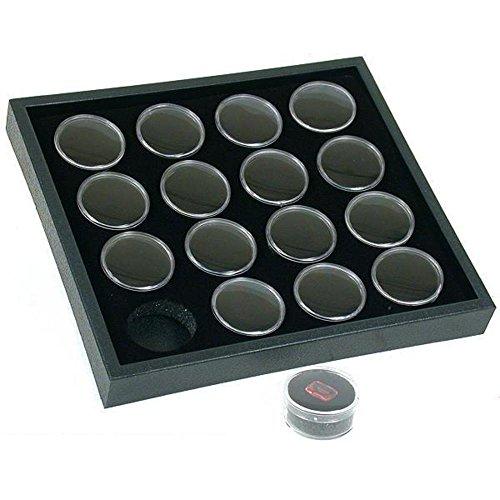 16 Gem Jars Black Foam Display Stackable Showcase Tray