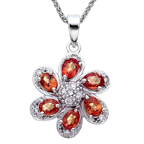 Sterling Silver Orange Sapphire Pendant (1 CT) With 18 Inch (Orange Sapphire Necklace)
