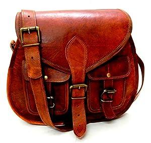 Firu-Handmade Women Vintage Style Genuine Brown Leather Cross Body Shoulder Bag Handmade Purse