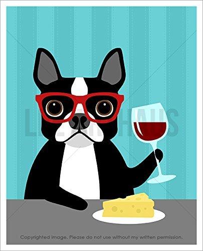 133D - Boston Terrier Wearing Red Eyeglasses Drinking Wine and Eating Cheese UNFRAMED Wall Art Print by Lee - Eyeglasses Boston
