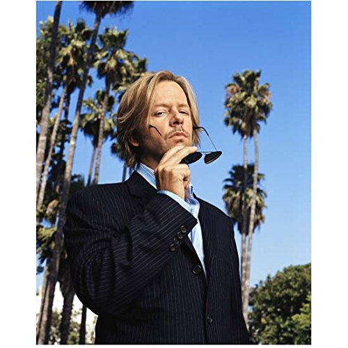 David Spade 8 inch x10 inch Photo The Emperor's New Groove Just Shoot Me! Joe Dirt Wearing Pin Striped Suit Holding Sunglasses Palm Trees & Blue Sky in Background ()