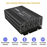 CooBox Car Power Inverter 1000W DC 12V to 110V 3 AC Outlets Home Car RV Solar Power Converter for Household Appliances in case Emergency, Hurricane, Storm and Outage
