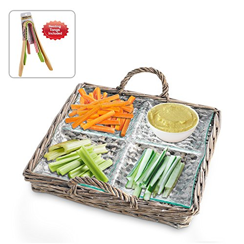 Zeesline 4 Sectional Glass Relish Dish in Wicker Carrying Case - For Veg. Sticks, Dips, Candy, and Berries (Sectional Dish Relish)