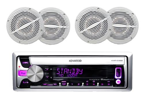 "Kenwood Bluetooth Marine Radio Car ATV CD/MP3 USB iPod iPhone Pandora Player 4 6.5"" Inch Marine Speakers System - Outdoor Marine Audio Kit"
