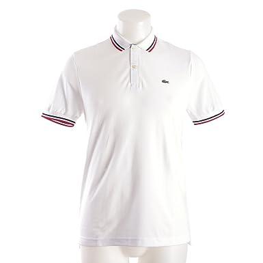 3e1a9476 Lacoste Men's Live Short Sleeve Semi-Fancy Pique Shirt, Navy Blue-White/Red,  7 at Amazon Men's Clothing store:
