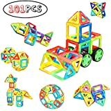 Minto Toy Magnetic blocks, 101 PCS Magnetic tiles building set Educational Toys for Girls and Boys
