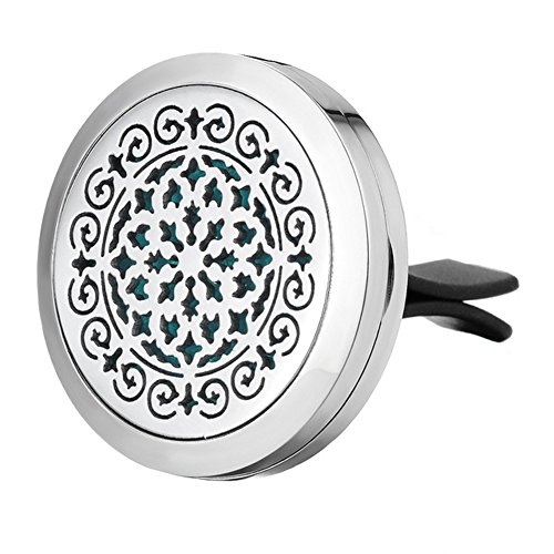 Jenia Aromatherapy Car Essential Oil Diffuser Locket With Vent Clip - 316L Surgical Stainless Steel Accessories