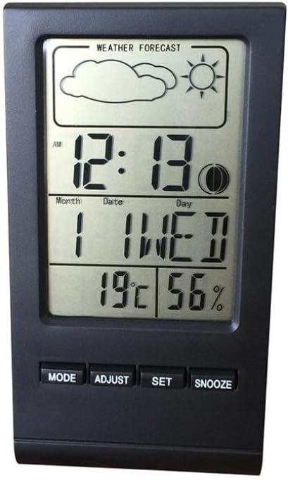 Silver Plastique Erthome Temp/érature /électronique digital LCD Thermom/ètre Hygrom/ètre avec horloge Date pr/évisions m/ét/éo 57*50*105MM