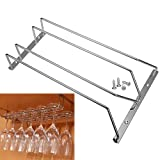 ASIV Under Cabinet Stainless Steel Wine Champagne Goblet Hanger Bar Home Cup Glass Stemware Holder Shelf Hanging Rack with Mounting Screws 2 Rows